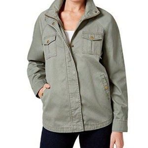 Army Green Field Jacket Rose Embroidered Panel